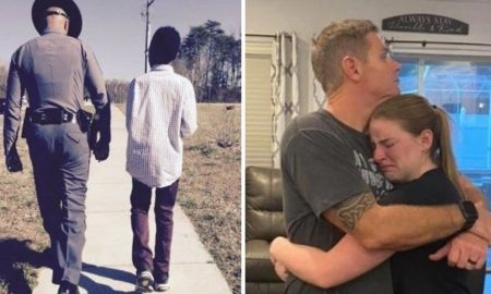 "Officer walking with an African-American child (left), Teenager Megan O'Grady who founded ""Blueline Bears"" as a way to support the families of fallen police officers hugs her cop dad after she was threatened by leftwing activists (right) (Photo Credit: YouTube/Screenshot, Blueline Bears/Screenshot/Facebook)"