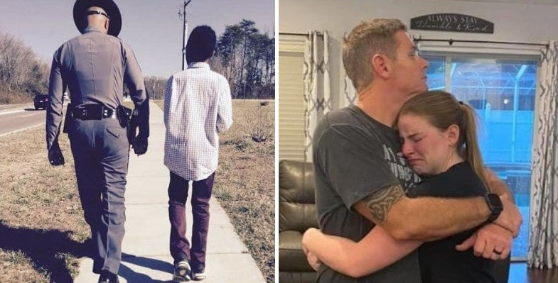"""Officer walking with an African-American child (left), Teenager Megan O'Grady who founded """"Blueline Bears"""" as a way to support the families of fallen police officers hugs her cop dad after she was threatened by leftwing activists (right) (Photo Credit: YouTube/Screenshot, Blueline Bears/Screenshot/Facebook)"""