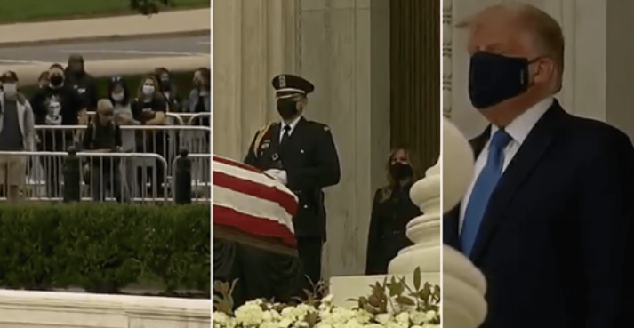 DC Crowd Heckles President Trump & Melania While Paying Respects To Justice Ginsburg
